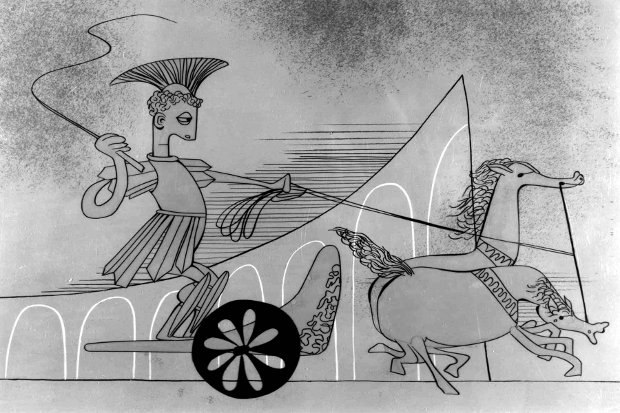 Modern design in the ancient world: Brotherhood of Man, UPA's second animated film produced for the United Auto Workers.