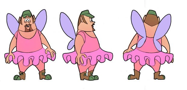 Larry the Cable Guy animated fairy character turn-arounds by PJ Tamayo.