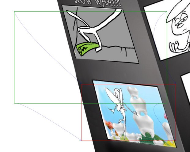 Storyboard of a camera move from one frame to the next inside the pamphlet.