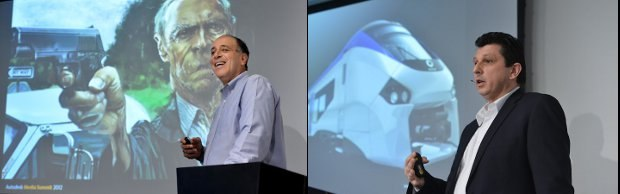 Carl Bass (left), President and CEO of Autodesk, and Mark Petit (right), senior vice president of Media & Entertainment, as they addressed Summit audiences. All images © 2012 Autodesk, Inc. All rights reserved.
