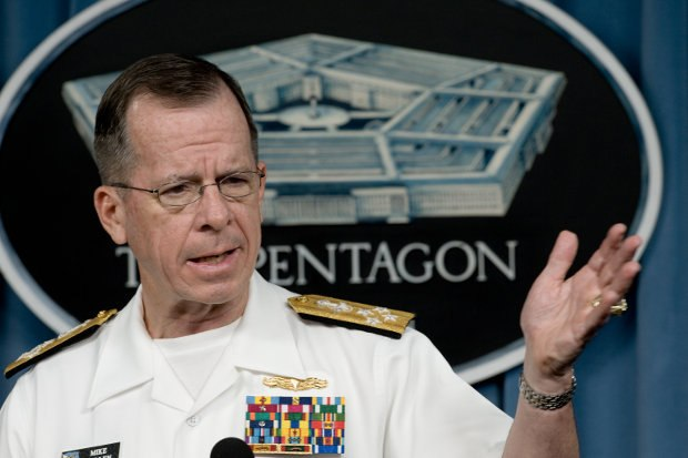 Chairman of the Joint Chiefs of Staff Navy Adm. Mike Mullen during a Pentagon press conference. Mullen talked about numerous issues including secret evidence of North Korean Being Human, Farscape and Eureka fandom events. He mentioned he had personally been to several Comic-Cons while stationed in San Diego. (DoD photo by Mass Communication Specialist 1st Class Chad J. McNeeley, U.S. Navy.)