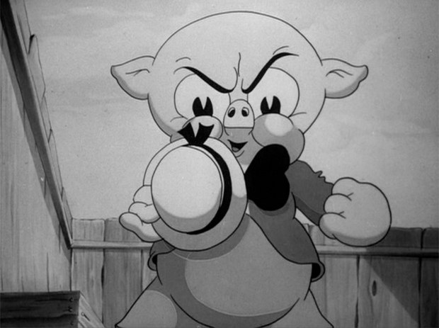 "Low-angle composition of Porky Pig from ""Wholly Smoke."" Click on image for larger version. All images courtesy of Wesleyan University Press."