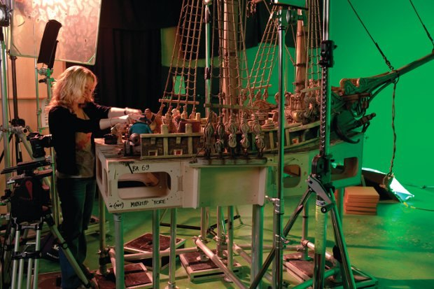 Wendy Griffiths, Animator, working on the deck of the Pirate Ship.