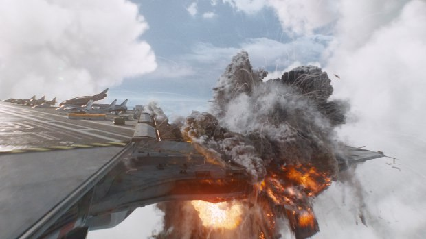 Big explosions were simulated with Maya fluids. Image courtesy of Weta Digital