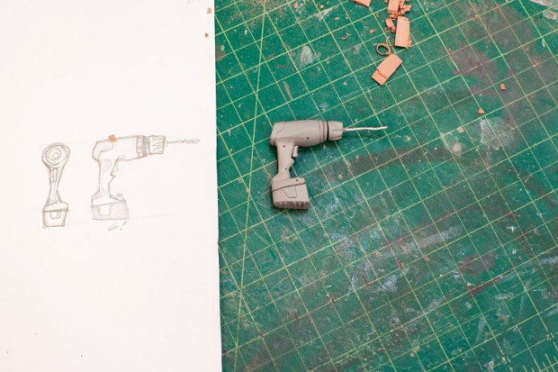 A drill goes from sketch to prop.