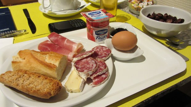 My typical breakfast at the Hotel du Nord, where we've stayed every year except once since 1997. Fatty charcuterie, a hunk of gooey brie on a baguette, a hard boiled egg so my mom won't yell at me, jam on a crunchy toast log. Perfect.