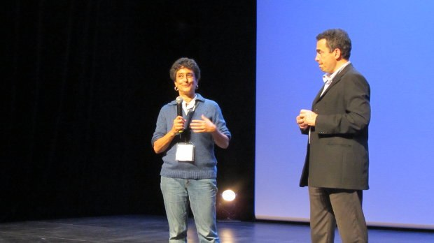 Animation director Candy Kugel, left, introduced by festival director Serge Bromberg, right, talks about the program she presented honoring animators who have passed away in the last year. Among the honored artists was Vincent Cafarelli, Candy's creative partner at Buzzzco, who passed away this last December 1st.
