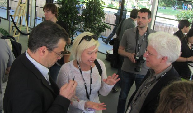 Serge, former AWN editor-in-chief and current industry titan Heather Kenyan and Ron at the Chinese animation reception.