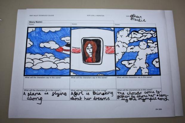 In this storyboard, an idea hatched by pupils in Carolina about the flame arriving to them by plane has been drawn up in more detail by a student from Pent Valley School in Folkestone.