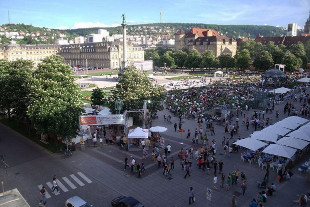 Festival beer garden and the outdoor screen