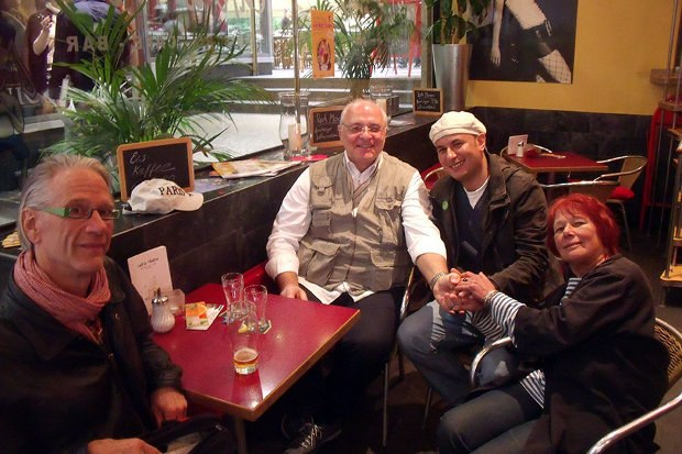 Nik Phelps, Giannalberto Bendazzi, legendary Italian film historian, and Egyptian animator Mohammed Ghazala with Nancy