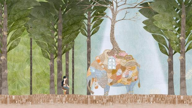 Cherry Blossom Elephant in Forest