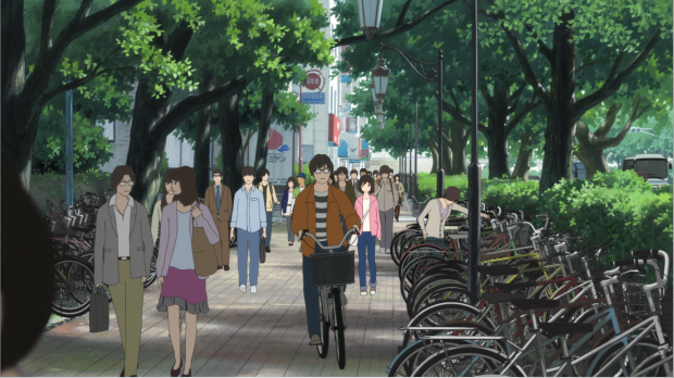CG crowd characters are placed with a celluloid character (girl in pink cardigan)