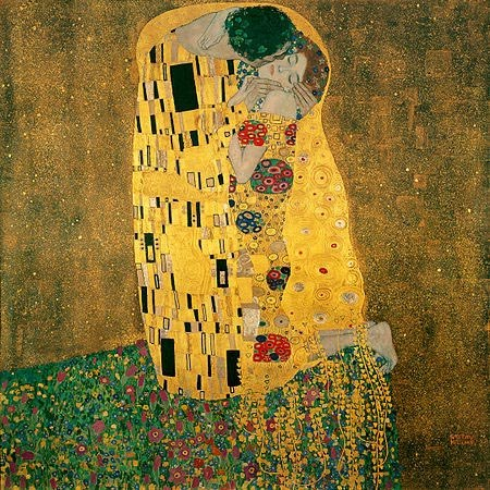 The Kiss, oil and gold leaf on canvas, 1907-1908, Gustav Klimt.