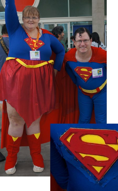 Superwoman and Superman are out of work and his costume shows it.