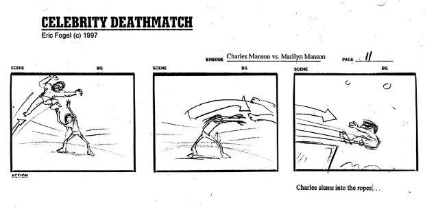 Celebrity Deathmatch pilot storyboard – Charles Manson vs. Marilyn Manson