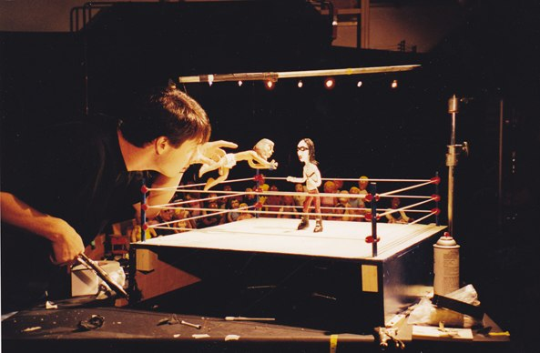 Here I am animating the very first Celebrity Deathmatch short for MTV– Manson vs. Manson