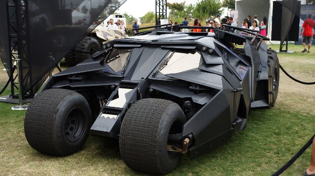 One of the Batmobiles on display in front of the Hilton.