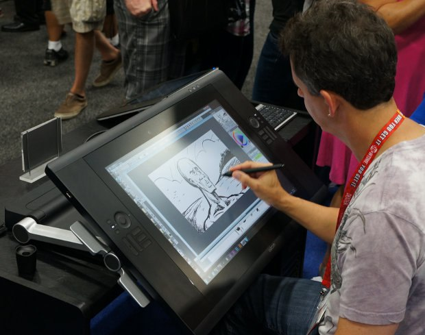 Mark Simon playing on the new multi-touch Cintiq 24HD touch.