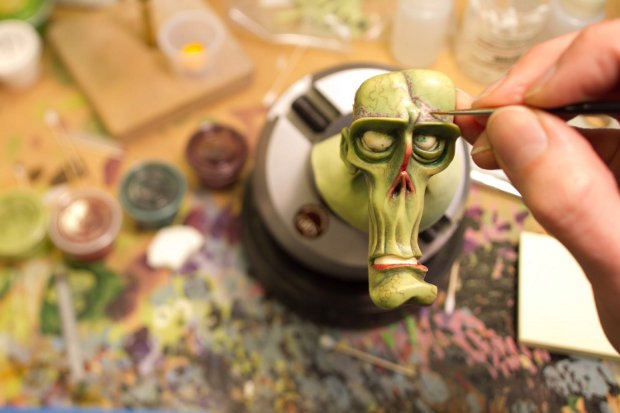 Detailed painting of one of the zombie heads.