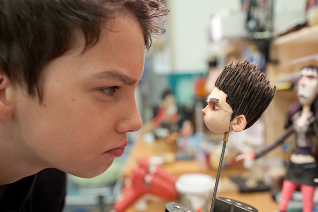 Kodi Smit-McPhee comes face to face with Norman while visiting the set of ParaNorman.