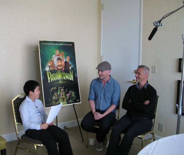 Perry Chen interviewing ParaNorman co-directors Chris Butler (M), Sam Fell (R).