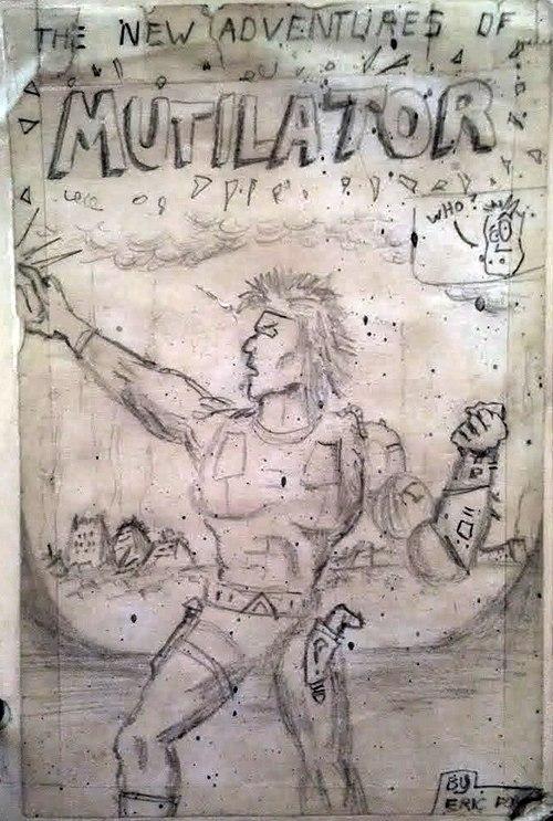"The original ""Mutilator"" comic book drawn on a notepad."