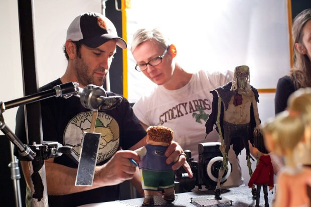 Animation Supervisor Brad Schiff and Creative Supervisor of Puppet Fabrication Georgina Hayns study the Neil puppet.