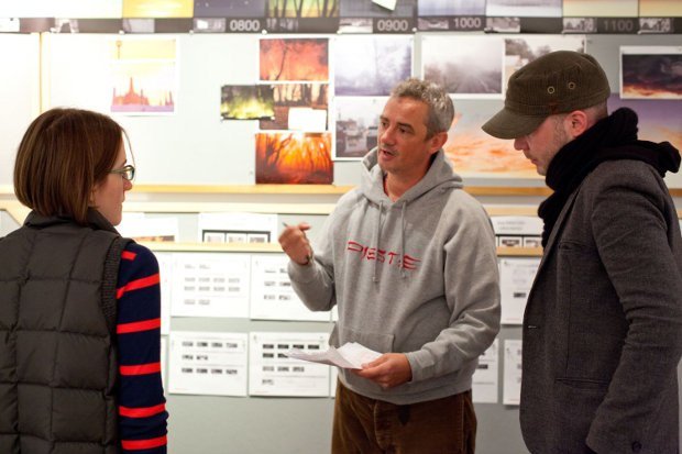 (l to r) Storyboard artist Vera Brosgol maps out scenes with directors Sam Fell and Chris Butler.