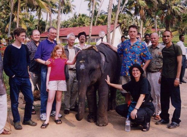 Delegates from Masters of Animation Week in Trivandrum, India in 2000. From left to right: Nicholas Blechman, Bill Dennis, Harvey Deneroff with his daughter Allegra, R.O. Blechman, David Fine, Bill Plympton, Joanna Priestley, Will Vinton and Arnab Chaudhuri.