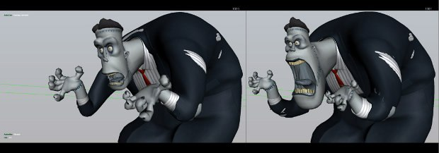 Comparison of a Frankenstein pose before and after Genndy's input.