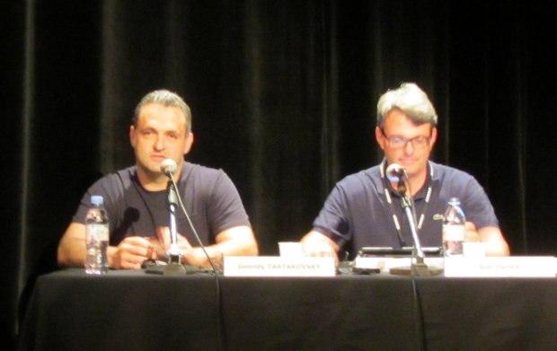Genndy and studio president Bob Osher at the Hotel Transylvania presentation at Annecy 2012.