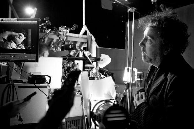 Tim Burton on the set.