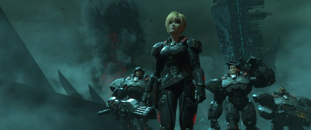 SERGEANT CALHOUN (voice of Jane Lynch) in the video game world of Hero's Duty.