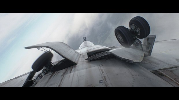 Shot of the landing gear breaking. For the exterior shots of the plane turning upside down, Atomic used Maya and V-ray along with 3ds Max and V-ray for the matte work.