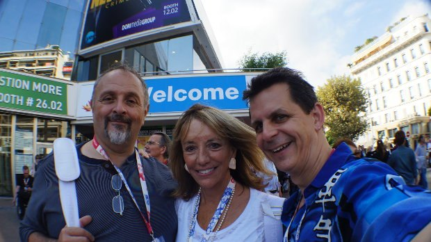 Attending MIPCOM in Cannes, France, Jesse Cole, Kristin Alexandre and Mark Simon.