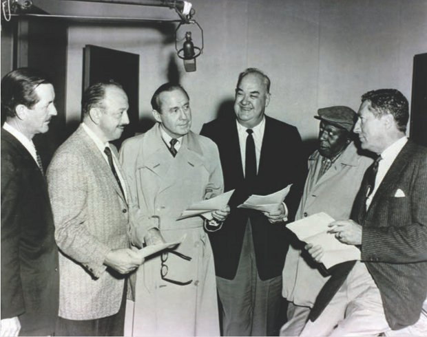 "Bob McKimson, Mel Blanc, Jack Benny, Don Wilson, Eddie ""Rochester"" Anderson and Tedd Pierce at a recording session for ""The Mouse That Jack Built,"" 1958. Image courtesy of Robert McKimson Jr."