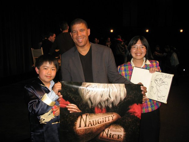 Perry Chen & mom Zhu Shen with director Peter Ramsey at ASIFA-Hollywood screening (photo by Charles Zembillas)