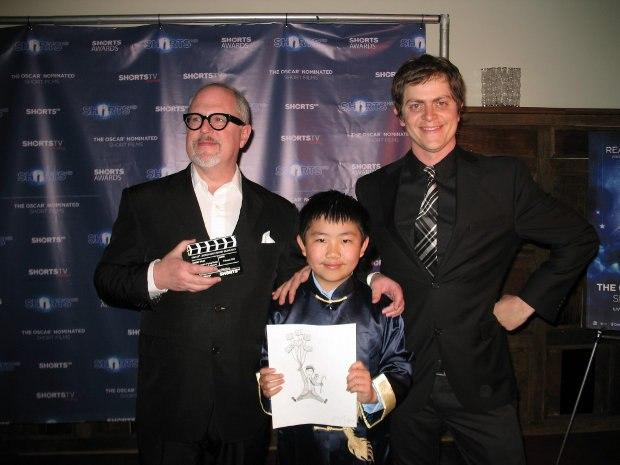 Perry Chen with directors William Joyce (L) & Brandon Oldenburg at ShortsHD Awards (photo by Zhu Shen)