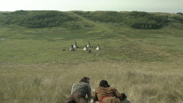 A matte painting was used to extend the expansive Sioux encampment.