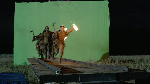 The Sioux Attack, realized through green screen and replication.