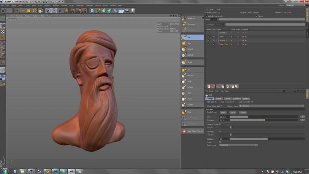 Sculpting objects and characters is now possible in R14. Image and sculpt courtesy of Patrick Goski.