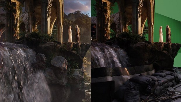 Greenscreen set and final side by side.