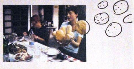 Caroline Riha and Nancy digging into scrumptuos plates of meat; photo - Rastko Ćirić