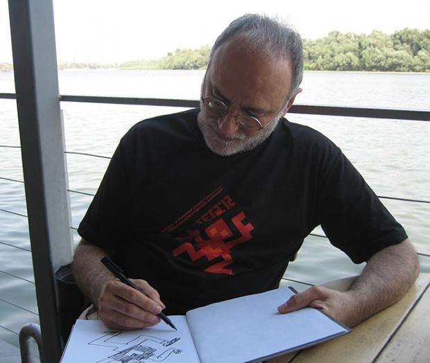 Rastko Ćirić drawing on the deck of the Floating Hotel