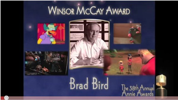 Brad Bird's 2011 Winsor McCay acceptance speech, taped on the set of Mission Impossible 4, was truly brilliant. Click here to view the speech.