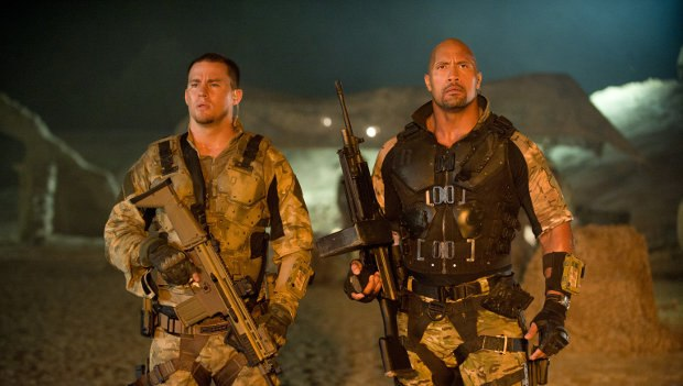 Channing Tatum as Duke and Dwayne Johnson as Roadblock in G.I. Joe: Retaliation. Image © 2012 Paramount Pictures. All Rights Reserved. Hasbro and its logo, G.I. Joe and all related characters are Trademarks of Hasbro and used with permission. All rights reserved.