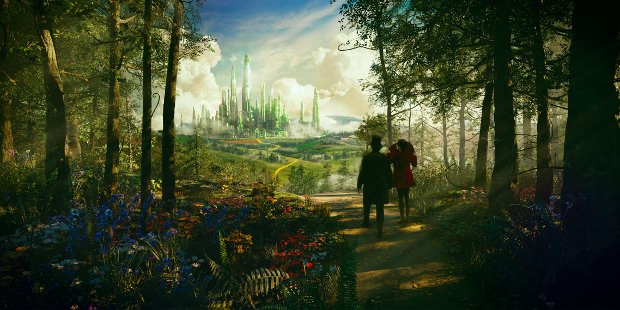 Oscar Diggs (James Franco) and the witch Theodora (Mila Kunis) travel the Yellow Brick Road on their way to The Emerald City in Oz The Great and Powerful. Image © 2012 Disney Enterprises, Inc.