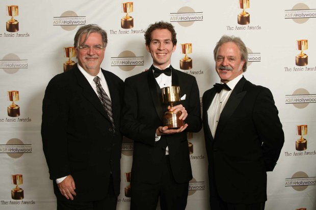 Tim with his Annie backstage at the Annie Awards with presenters Matt Groening and animation voice actor Jim Cummings. Photo Credit: Bonnie Burrow Photography-40th Annie Awards.