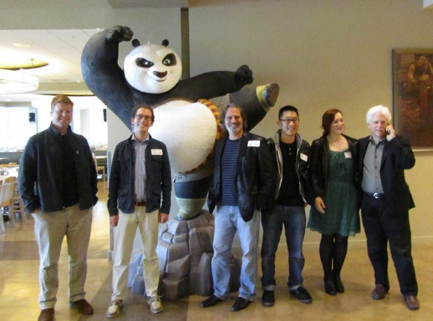 Every year the group takes a photo in front of this gigantic statue of Po from Kung Fu Panda.